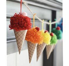 ❤ DIY Pom pom ice cream cones - fun summer decor ❤Mindy - craft idea & DIY tutorial collection Source by anglehulshof decoration decoration ideas Kids Crafts, Fun Diy Crafts, Summer Crafts, Paper Crafts, Crafts With Yarn, Decor Crafts, Autumn Crafts, Do It Yourself Inspiration, Monday Inspiration