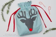Sew a Christmas Reindeer Drawstring Gift Bag + Free Applique Template