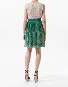PRINTED DRESS WITH LACE SKIRT - Dresses - Woman - ZARA Costa Rica