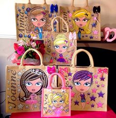 Glitterglamz Unique Personalised Bags Jute Shopping Bag Cute Gift Hand Painted
