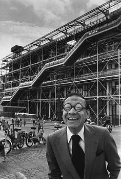 By Marc Riboud. Architect responsible for the Louvre pyramid but not the Pompidou Museum behind him, I M Pei, Paris