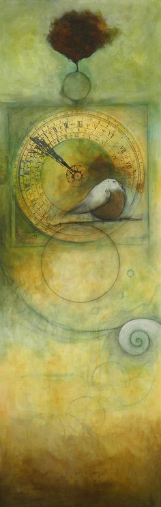 """Awake"" by Seth Fitts. Mixed Media: Acrylics, pastel, collage, graphite pencil, on canvas  45x15 inches"
