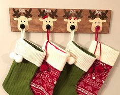 Christmas stocking hanger Wooden reindeer by VinylByYouDesigns Christmas Wood, Christmas Signs, Christmas Projects, Christmas Holidays, Christmas Decorations, Christmas Ornaments, Christmas Stocking Hangers, Christmas Stockings, Feltro