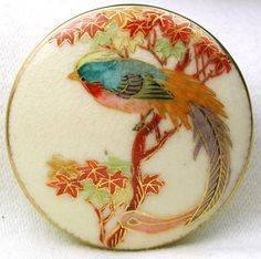 Antique Satsuma Button Meiji Era Colorful Large Bird on Maple Branch 1 & 3/4""