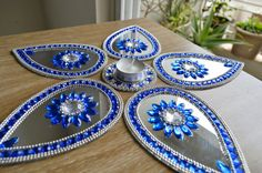 Wedding Centerpiece, Mirror Rangoli - Cobalt Blue and Silver Color - set of 6 pieces on Etsy, $35.00