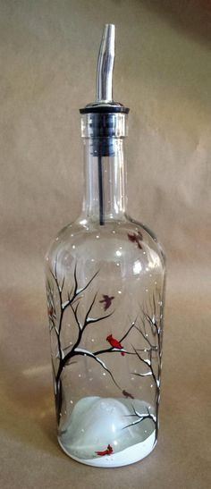 Cardinal Wine Glass Hand Painted Red Spirit Bird Snowy Tree Branches Seasonal Holiday Winter Glassware Collectible Visitor From Heaven Gift Wine Bottle Art, Painted Wine Bottles, Diy Bottle, Painted Wine Glasses, Wine Bottle Crafts, Bottles And Jars, Jar Crafts, Glass Bottles, Decorated Bottles