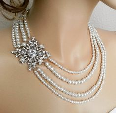 Bridal jewelry pearl statement necklace, Wedding pearl necklace with brooch by Sukran