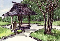 Japanese temple bell (summer, 2006), Russell Stutler's Sketchbook Part 2, Page 5