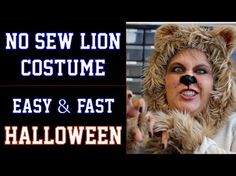 No Sew Lion Halloween Costume - DIY Fast and Easy (Wizard of Oz - Cowardly Lion) - YouTube