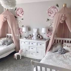 Bedroom Design Ideas – Create Your Own Private Sanctuary Sister Bedroom, Little Girl Bedrooms, Cute Girls Bedrooms, Kids Bedroom Designs, Cute Bedroom Ideas, Girls Room Design, Girls Canopy, Baby Room Decor, Girl Bedroom Decorations