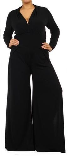 THE WEST SIDE JUMPSUIT This is the sexiest, most amazing plus size jumpsuit out there!!!! A long sleeve version of my best selling plus size jumpsuit!!! Available in black, red, or white!!!!! So chic and slimming!! This jumpsuit is a polyester blend. Nice and heavy enough to to hang on the body perfectly! Nice V--neck is so flattering and begs for a nice necklace!! Wide band around the waist is so amazing and comfortable. Legs of this jumpsuit are nice, wide, and flowing.