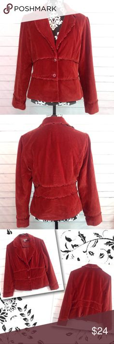 """Apt 9 Rust Velvet Blazer Size 12 Excellent condition!  Apt 9 deep rust colored velveteen blazer.  Size 12.  Bust measures 20"""" across.  Length armpit to hem 13.5"""".   ✔️Please ask all questions before you purchase! I'm happy to help! ✔️Please see measurements in the description so you can best judge the fit BEFORE you purchase!  🔹No trades or holds, but I happily consider offers via the Offer Button! 🔹Bundle for best prices. Use bundle button feature or ask for custom bundle!  💙Happy…"""