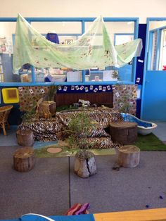 An idea for my drama studio since my kids love the jungle animals we have!