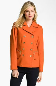 MICHAEL Michael Kors Double Breasted Peacoat available at #Nordstrom