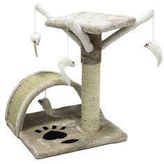 CUPETS Pet Products Cat Activity Trees Pet Furniture Toy Bed House Cat Perch House Cat Tree Scratcher Beige *** Check this useful article by going to the link at the image.