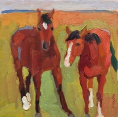 Larisa Aukon.Two by Larisa Aukon Oil ~ 8 x 8