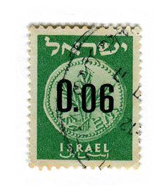 Israel Postage Stamp: Anceint Coin Green by karen horton, via Flickr