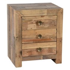 Oscar Natural Reclaimed Wood 3-drawer Nightstand by Kosas Home