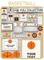 Basketball Printables, Invitations & Decorations – black/gold