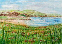 Original Acrylic Painting: COASTAL/LANDSCAPE: COVE, SEA & WILD FLOWERS, ANGLESEY | eBay