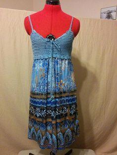 299 Items on SALE!! 20% OFF BUY IT NOW! Blue & Gold Metallic Sundress Shoreline Size S/M Flashy Crochet Bodice w/ Tie  | eBay