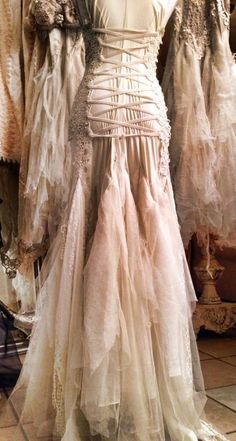 Moon Goddess Trash Couture weddinggown….lace up back:-)