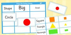 Shape Size Sorting Activity - shape size sorting, shapes activity, shape size activity, sorting shape size activity, sorting shapes, shape sizes