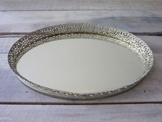 Oval Mirrored Vanity Tray with Gold Filagree with Felted Bottom 14.00