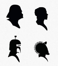 Star Wars Victorian Silhouettes, a different one on each table with centerpieces