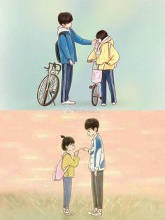 A love so beautiful, big love, goblin korean drama, chibi couple, kpop Cute Couple Art, Anime Love Couple, Cute Anime Couples, A Love So Beautiful, Big Love, Goblin The Lonely And Great God, Goblin Korean Drama, Chibi Couple, Cute Cartoon Characters