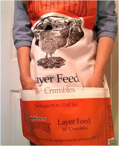 Make a finished apron with pockets from feed/dog food bag....was thinking maybe use bags for templates for sewing aprons out of fabric...
