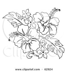 tattoo coloring pages | Royalty-Free (RF) Clipart Illustration of a Black And White Hibiscus ...