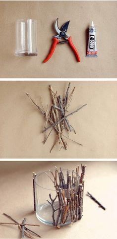 DIY twig candle holders