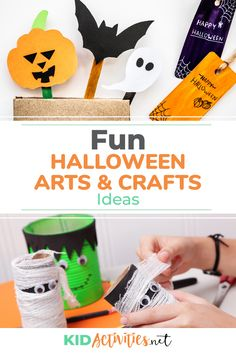 A collection of Halloween arts and crafts for kids. Great for setting up the classroom for the Halloween party or for fun Halloween activities. These projects will be easy DIY decoration ideas kid will love! Halloween Arts And Crafts, Halloween Activities For Kids, Autumn Activities For Kids, Easy Halloween Decorations, Halloween Kids, Halloween Party, Kid Activities, Quick And Easy Crafts, Easy Diy