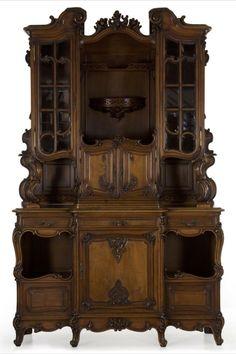 Antique English Rococo Revival Carved Walnut Cupboard Cabinet Buffet, c. 1880 Walnut Cabinets, Antique Cabinets, Upper Cabinets, Cabinet Inspiration, Antique Buffet, Castle In The Sky, Rococo, Dark Wood, Cupboard