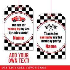 Paper goods and DIY printables for parties and holidays Hot Wheels Birthday, Hot Wheels Party, Race Car Birthday, Race Car Party, Birthday Tags, 2nd Birthday, Birthday Ideas, Cars Party Favors, Party Favor Tags