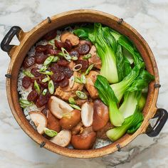Bo Zai Fan (Chinese Chicken and Mushroom Clay Pot Rice) Recipe | Bon Appétit Chinese Sausage, Chinese Chicken, Chinese Food, Restaurant Bon, Ramen, Steamed Chicken, Chicken Rice, Restaurants, Stuffed Mushrooms