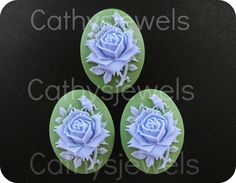 Portrait Cameos  Blue Rose On Green 40x30 Set Of by Cathysjewels (Craft Supplies & Tools, Jewelry & Beading Supplies, Beads, cabochon, collage, vintage, supplies, cameo, cameos, rose, 40x30, jewelry supplies, 30x40, scrapbooking, button, blue)
