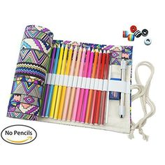 Cre-go Canvas Pencil Wrap, Pencils Roll Case Hold For 72 Colored Pencils (Pencils are not included)-Bohemian,72 Holes