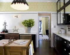#Kelly #Wearstler #Imperial #Trellis #Wallpaper #kitchen image from http://tishkey.com/ #interior #design