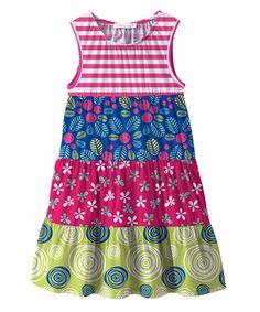 Pink & Green Floral Color Block Sleeveless Dress - Toddler & Girls