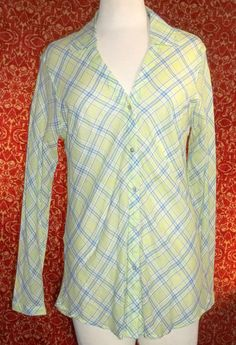 MARSH LANDING thin cotton green plaid long sleeve blouse M (T1501C7G) #MarshLanding #Blouse #Casual