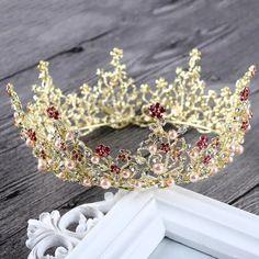 Vintage Wedding Hair Jewelry Accessories Baroque Round Circle Rhinestone Pearls Tiara King Queen Crown Bridal Prom Tiaras Crowns Cheap Hair Accessories Cheap Hair Clips From Global_top, $32.45| Dhgate.Com