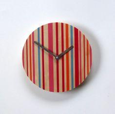 Objectify Pink Stripes Wall Clock. $24.00, via Etsy.