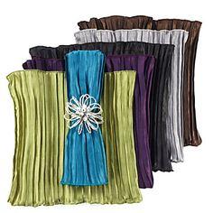 Silky satin, pleated and bright Ava Napkins. $23.80