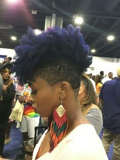 Afro hair is typically associated with natural curls that have a thick, frizzy texture. Such a distinctive type of hair might seem hard to manage, but this has not stopped African beauties from spo… Natural Hair Cuts, Natural Hair Styles, Colored Natural Hair, Undercut Natural Hair, Tapered Natural Hair Cut, Tapered Afro, 4c Hair, Hair Dos, Femme Mohawk