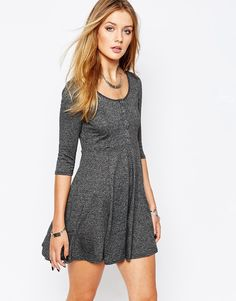 Image 1 ofGlamorous Button Through Skater Dress with Long Sleeve