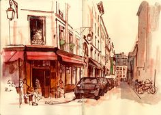 more encouragement to sketch -- from Urban Sketchers, artist: Stephen Gardner . Watercolor Images, Pen And Watercolor, Urban Sketchers, Travel Drawing, Sketch Inspiration, Sketch Painting, City Streets, Urban Landscape, Pictures To Draw