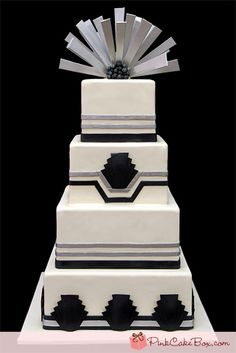 Art Deco Wedding Cake by Pink Cake Box in Denville, NJ.  More photos and videos at http://blog.pinkcakebox.com/art-deco-wedding-cake-2011-09-26.htm