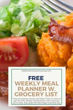 Tired of wasting money and food? Then it's time to get this free weekly meal planner with a grocery list to help. Also grab the free fridge inventory too! Weekly Meal Planner Template, Monthly Meal Planner, Meal Planning Printable, Quick Snacks, Healthy Snacks For Kids, Grocery Lists, Meals For The Week, Printable Worksheets, Free Printable